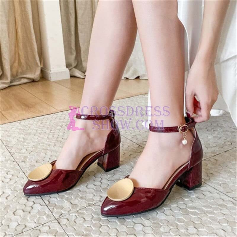1.5 Inch Square Chunky Leather Ankle Strap Pump