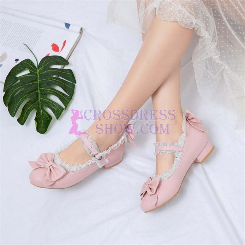 1 Inch Chunky Butterfly-Knot Ruffles Lolita Pump