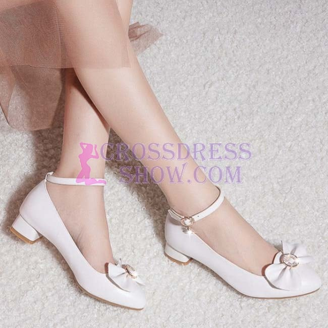 1 Inch Sweet Cute Bow Tie Ankle Strap Pump