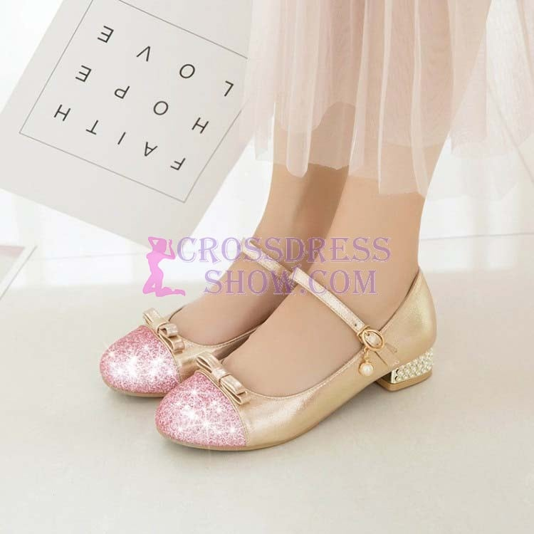 1 Inch Sweet Butterfly-knot Square Pumps