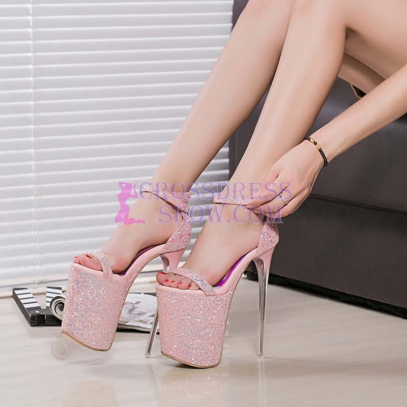 8 Inch Super Diamond Studded Lace Sandals