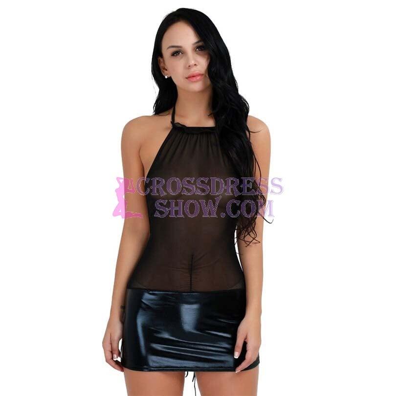Black Patent Leather Novelty Blackless Exotic Dress