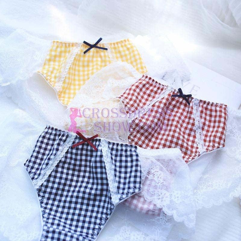 Crossdresser Vintage Plaid Cute Lace Sweet Seamless Panty
