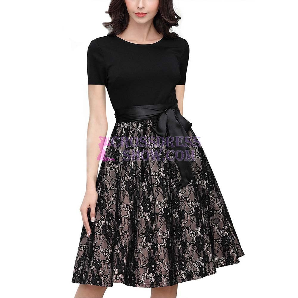 Lace Stitching Dress With Belt