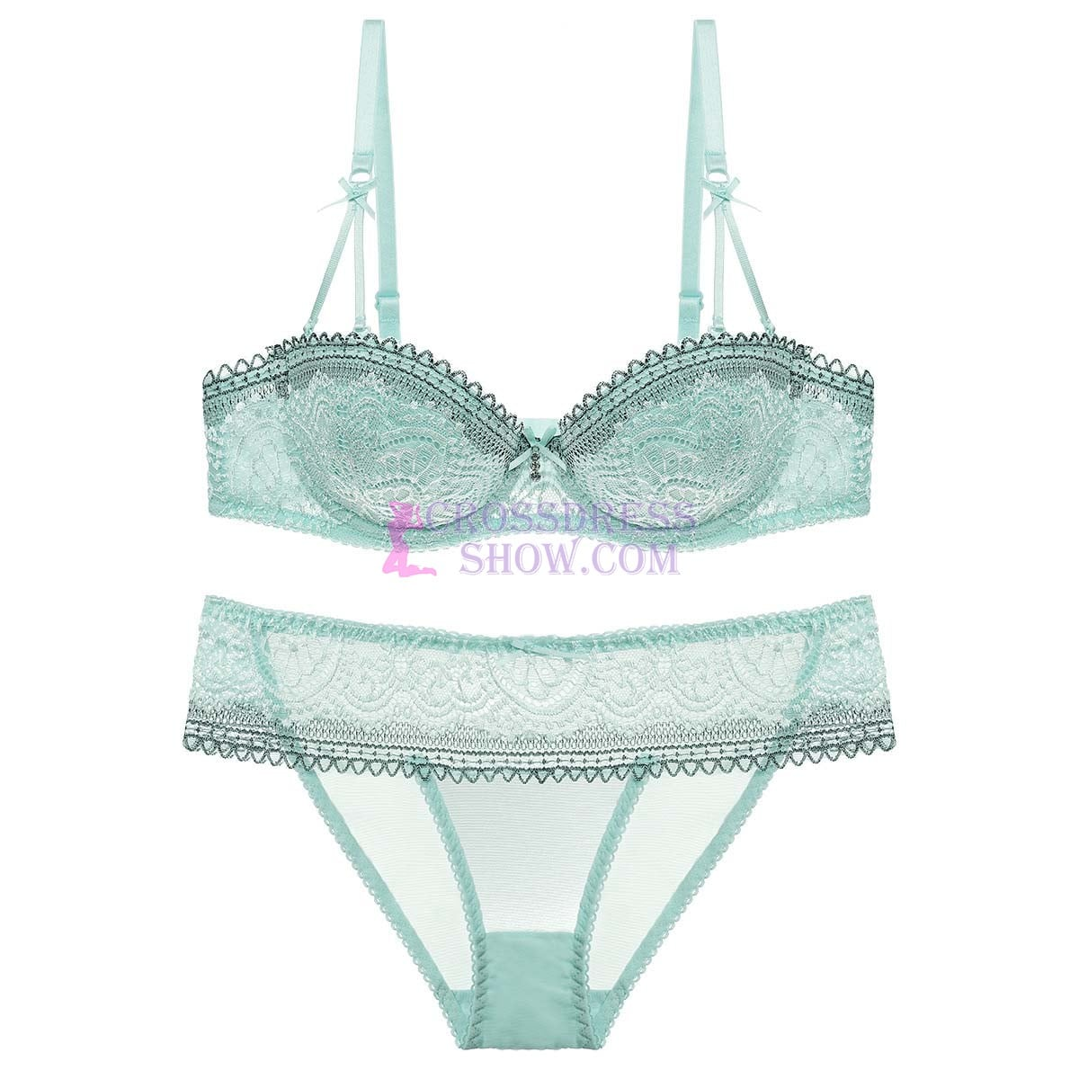 Transparent Women 's Push up Embroidery Bras Set Lace Lingerie Bra and Panties 1643