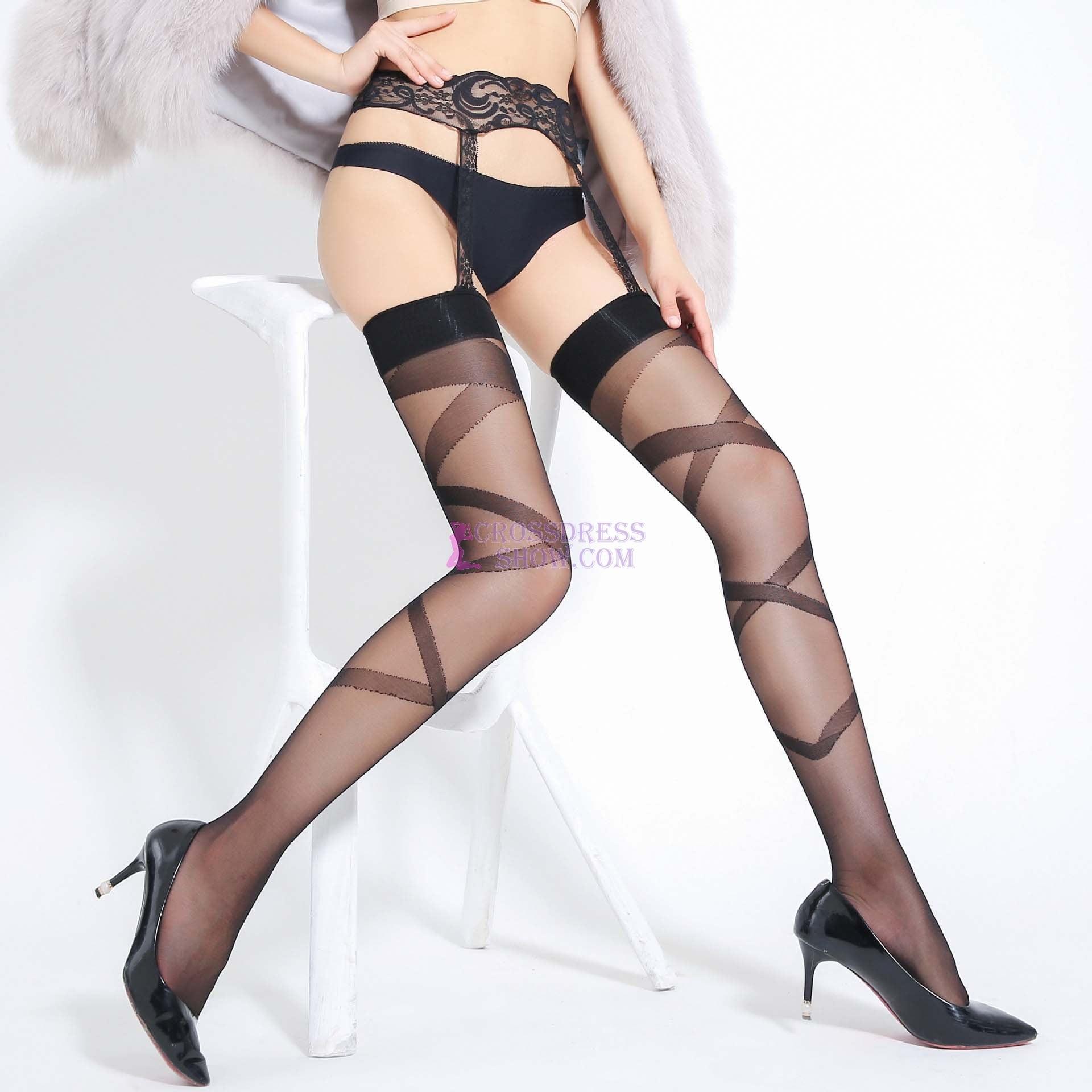 Floral Lace Garter Bundle Pantyhose 7040