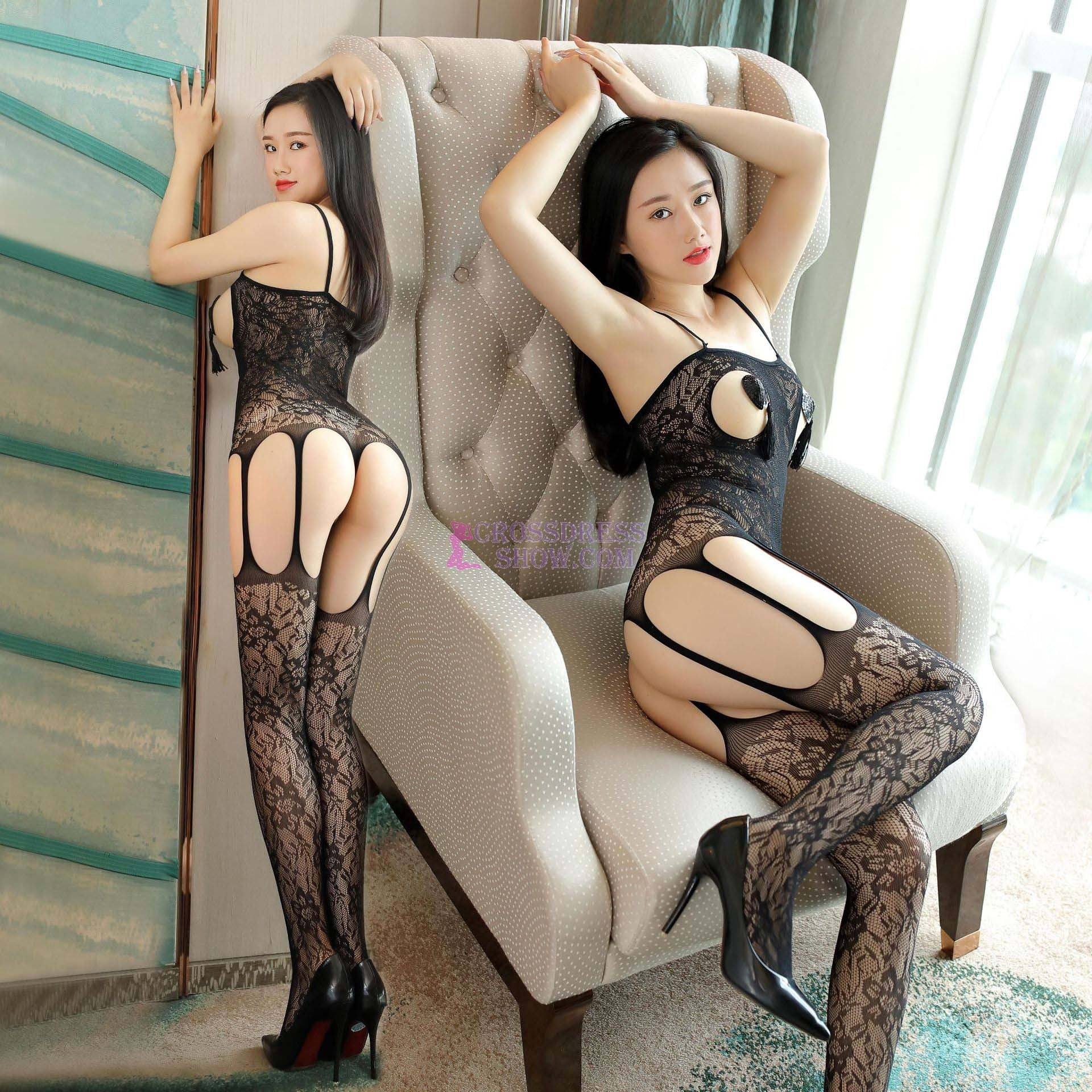 Floral Sling Open Bodystocking 7027