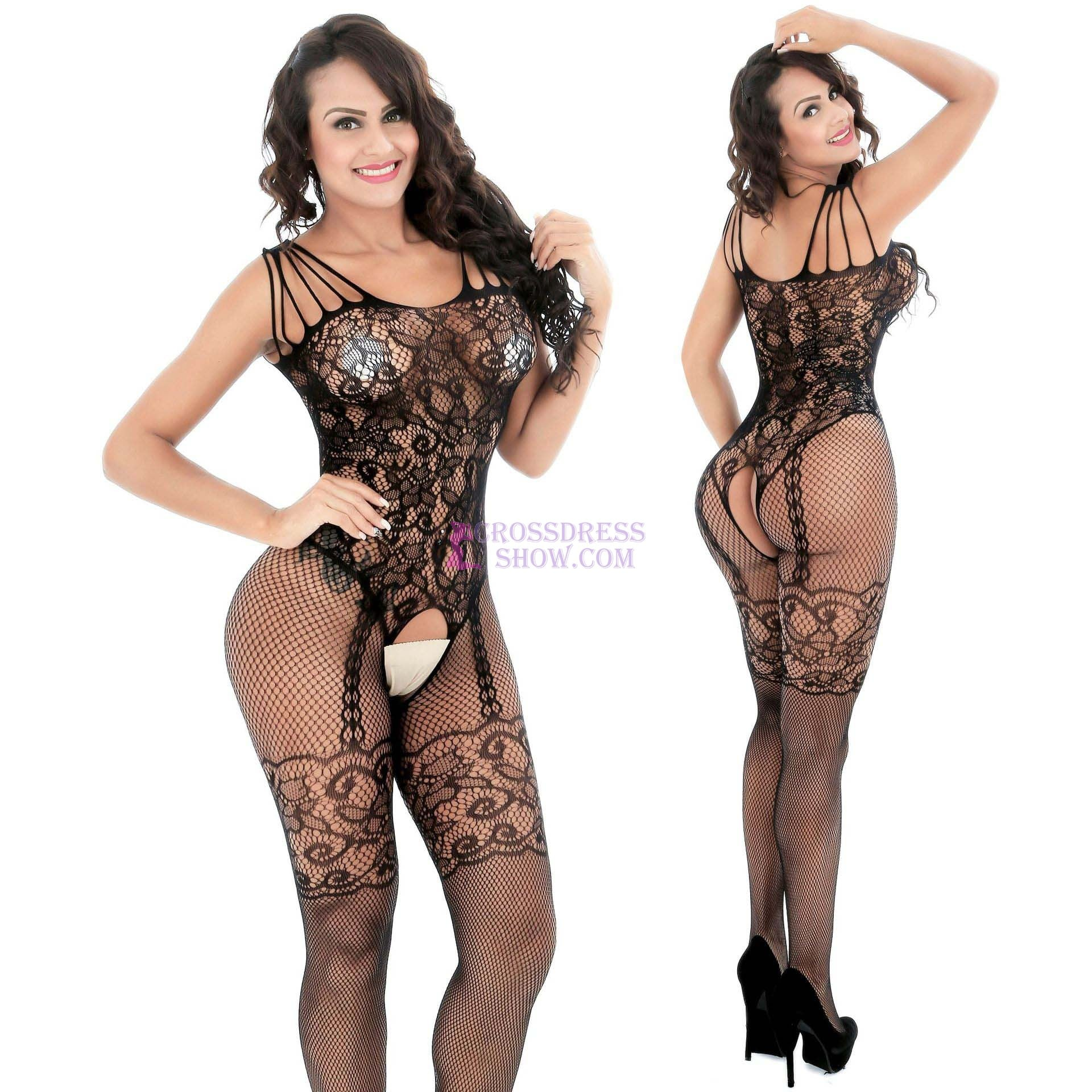 Flower Lace Sling Open Bodystocking 8836
