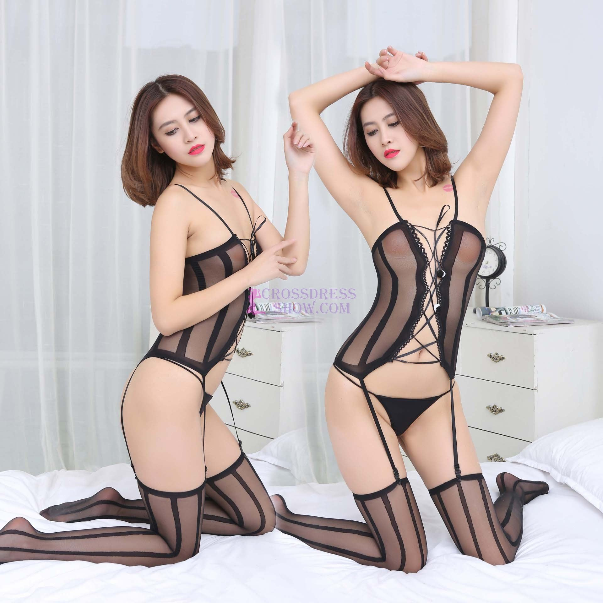 Lace Garter Transparent Bodystocking Set 9811