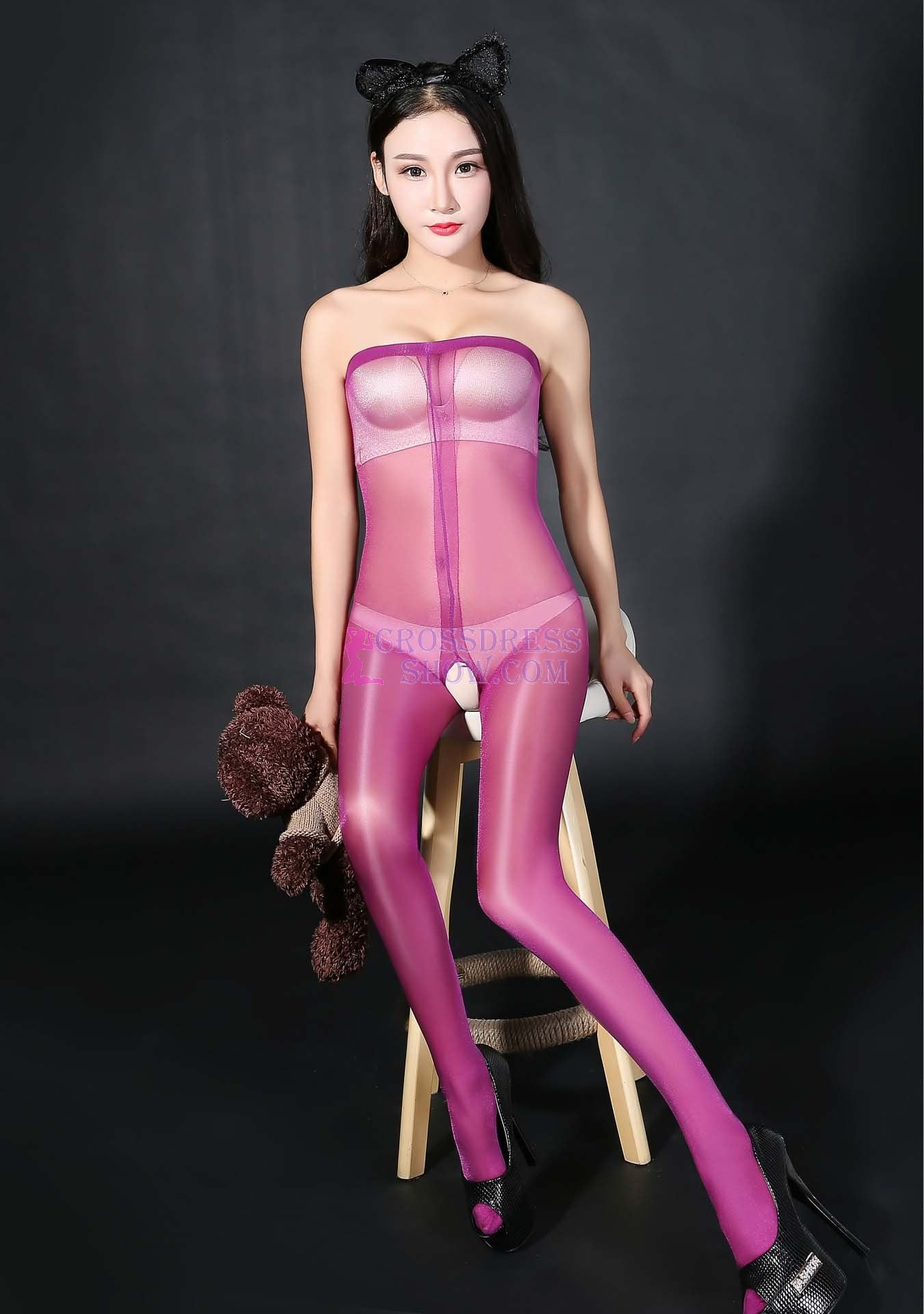 Wrapped Chest Glitter Transparent Pantyhose 4690