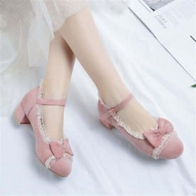 1.8 Inch Cute Butterfly-knot Lace Ruffles Pump
