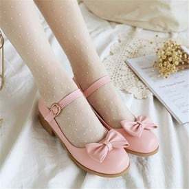 1 Inch Cute Lovely Bow Tie Ankle Strap Pump