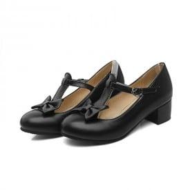 1 Inch Sweet Bowktie Lolita Mary Janes Ankle Strap Pump