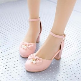 2.5 Inch Sweet Bowtie Pearl Beads Ankle Strap Chunky Sandal
