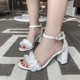 2.8 Inch Sweet Lolita Ruffles Ankle Strap Sandal