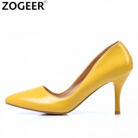 2 Inch Patent Leather Pointed Toe Shallow Pump
