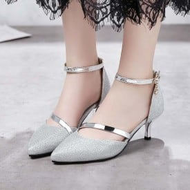 2 Inch Pointed Toe Lace Strap OL Pump