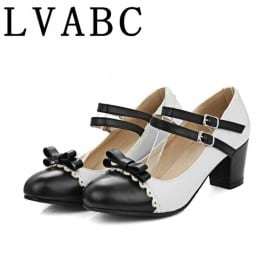 2 Inch Sweet Bowktie Mary Janes Ankle Strap Pump