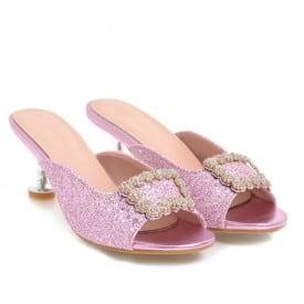 2 Inch Sweet Crystal Peep Toe Slipper