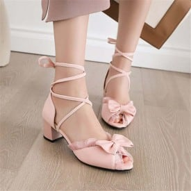 2 Inch Sweet Lace Ruffles Bowknot Strappy Sandal