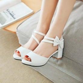 2 Inch Sweet Lolita Bowknot Peep Toe Zip Sandal