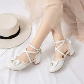 2 Inch Sweet Lolita Mary Jane Bowtie Cross Strappy Sandal