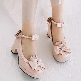 2 Inch Sweet Lolita Pink Bow Pump