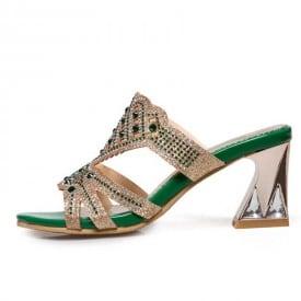 3.5 Inch Luxury Rhinestone Open Toe Slipper