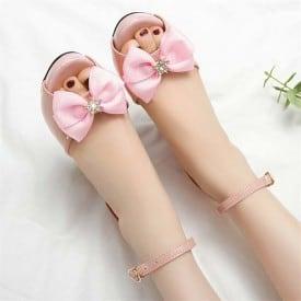 3 Inch Sweet Bowtie Patent Leather Peep Toe Sandal