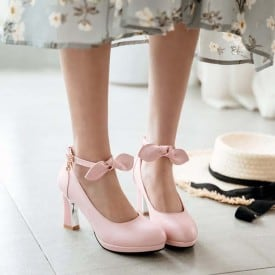 3 Inch Sweet Butterfly-knot Square Dress Pump