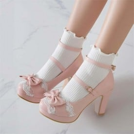 3 Inch Sweet Lolita Princess Ankle Strap Bowtie Pump