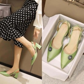 3 Inch Sweet Pointed Toe Solid PU Sandal