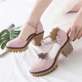 3 Inch Sweet Synthetic Ruffles Ankle Strap Sandal