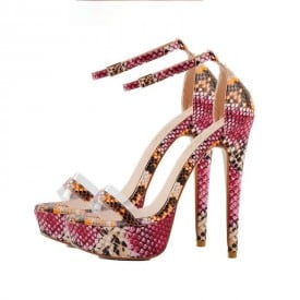 4.7 Inch Chunky Ankle Strap Round Toe Buckle Pump