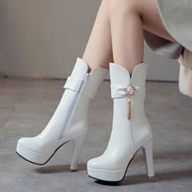 4.7 Inch Elegant Chain Flower Crystal Ankle Boot