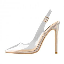 4.7 Inch Iridescent PU Leather Pointed Toe Sandal