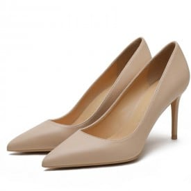 4 Inch Leather Pointed Toe Mature Pump