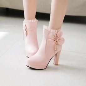 4 Inch Sweet Ankle Bowtie Ruffles Pump