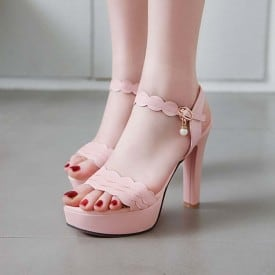 4 Inch Sweet Ruffles Pearl Ankle Strap Sandal