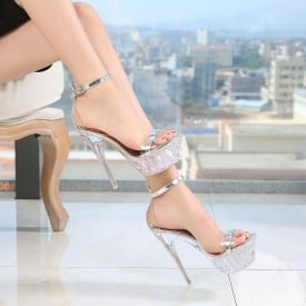 5.4 Inch Shiny Crystal Sandals