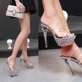 5.5 Inch Lace Transparent Crystal Slippers