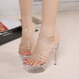 5.5 Inch Lace Transparent Sandals