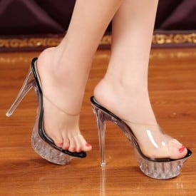 5.5 Inch Transparent Crystal Show Slippers