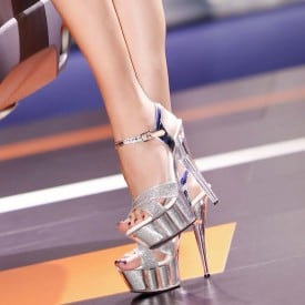 6 Inch High Heel Crystal Silver Sequins Sandals