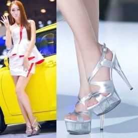6 Inch High Heel Crystal Wedding Sandals