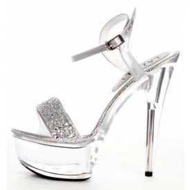 6 Inch High Heel Silver Sequins Sandals