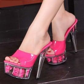 6 Inch High Heel Wedding Clear Slippers