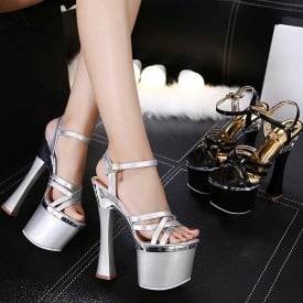 8 Inch Super High Heel Shiny Sandals