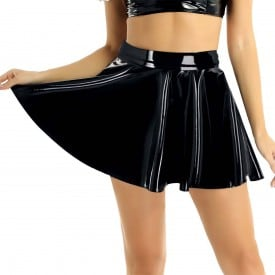 A-Line Mini Latex Wet Look PU Leather Flared Pleated Circle Skater Skirt