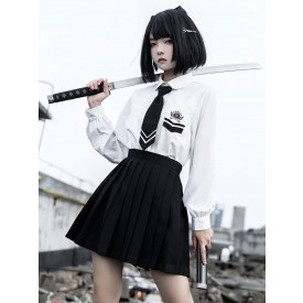 Academic Lolita 3-Piece Set White Long Sleeves Peter Pan Collar Shirt Black Tie Overskirt Outfits